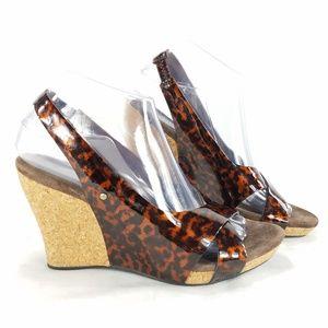 UGG Shoes - UGG Australia Leather Peep Toe Cork Wedge Sandals
